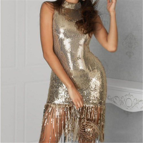 Sexy V Neck Sequined Fringed Dress