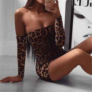 Sexy One Shouldered Leopard Print Dress
