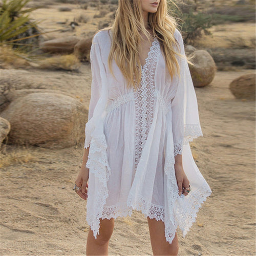 Sexy V Collar Beach Sunscreen Dress