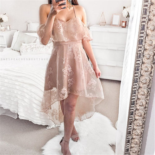 Sexy Shoulder Exposed Lace Sling Dress