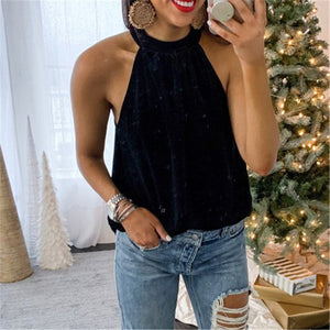 Sexy Exposed Shoulder Necklace T Shirt