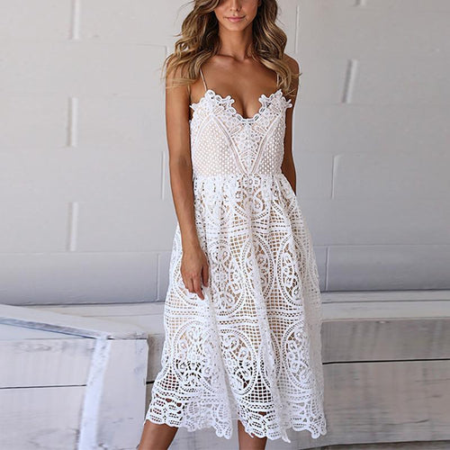 Sexy Sling Sleeveless Hollow Out Lace Mini Dresse