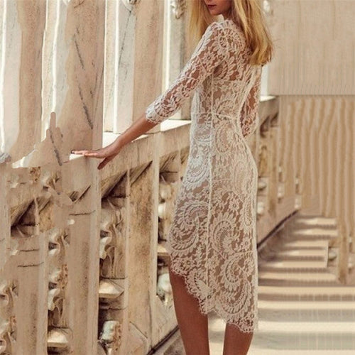 Sexy V Neck Lace Irregular Dress