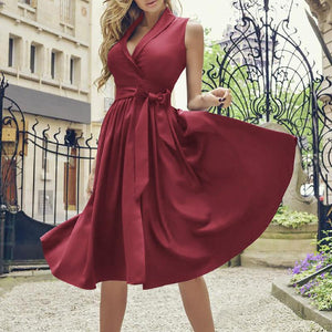 Sexy V Neck Sleeveless Belted Pure Colour Dresses