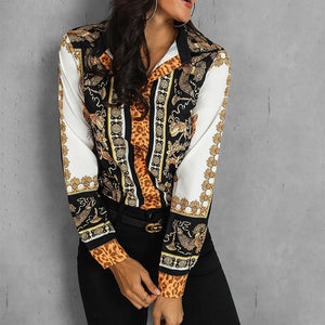 Vintage Long Sleeve Turndown Collar Printed Colour Shirt