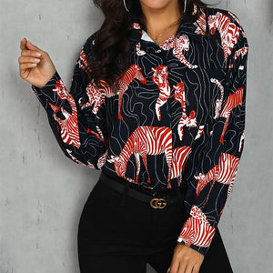 Vintage Printed Colour Long Sleeve Shirt