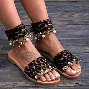 Fashion Leopard Printed Open Toed Metal Decorated Flat Sandal