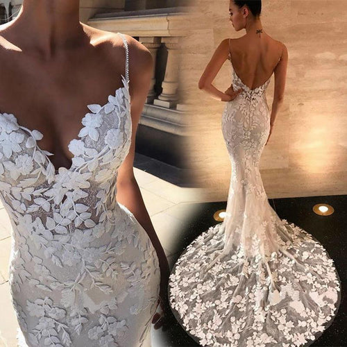 Sexy V-Collar Lace Gown