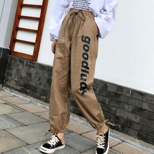 Casual Letter Printed Loose Strawstring Pants