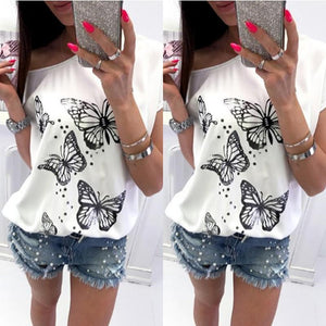 Wild Short Sleeve Casual Tops Butterfly Print T-Shirt