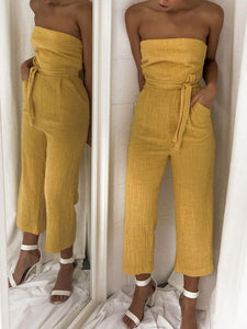 Sexy Off Shoulder Wrapped Chest With High Waist Jumpsuit
