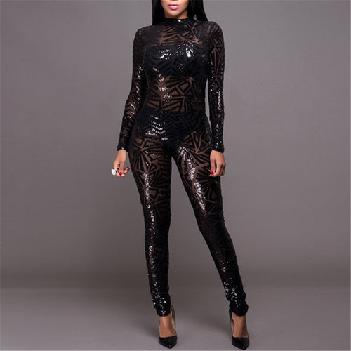 Sexy Sequined Long Sleeve Jumpsuit