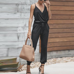 Sexy V Neck Pure Colour Sling Sleeveless Jumpsuits