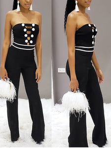 Sexy Off-Shoulder Pure Colour Broad Leg Jumpsuits