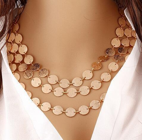 Elegant Coin Multiple Necklace