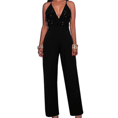 Sexy V Neck Sequined Suspender Jumpsuit