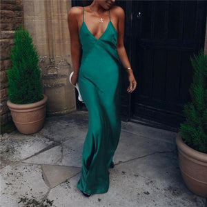 Sexy Solid Colour Suspender Evening Dress