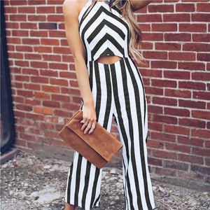 Stylish Casual Sleeveless Striped Jumpsuits
