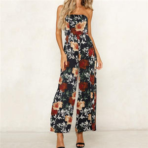 Sexy One Shoulder Printed Casual Jumpsuit