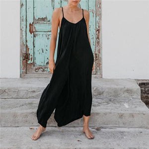 Sexy Sleeveless Shoulder Strap In Pure Color Jumpsuits