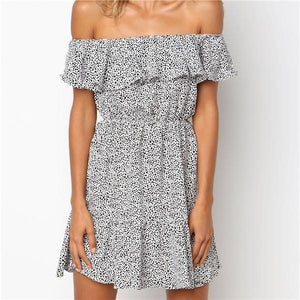 Sexy One Shoulder Lotus Edge Printing Mini Dress