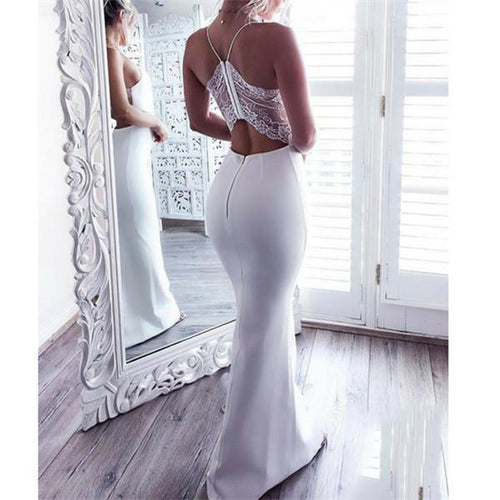 Sexy V Neck Cross Sling Evening Dress