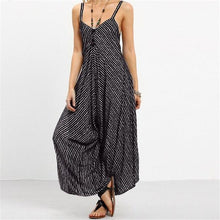 Fashion Stripe Hanging Bandwidth Loose Jumpsuits