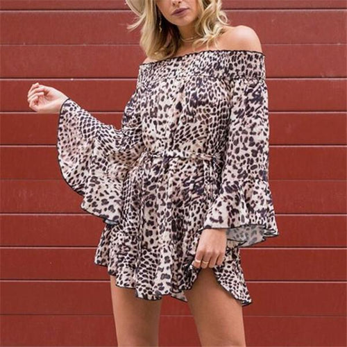 Sexy One Shouldered Leopard Print Long Sleeves Mini Dress