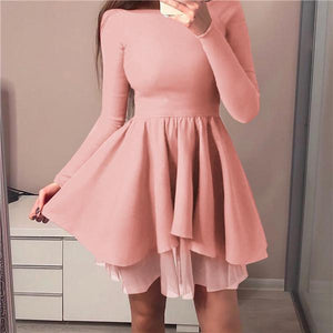 Sexy Long Sleeves Irregular Mini Dress