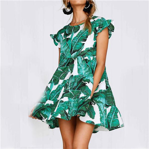 Fashion Banana Leaf Printing Short Sleeves Mini Dresses