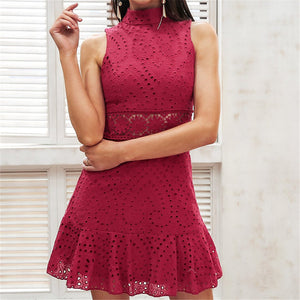 Sexy Sleeveless Lace Stitching Mini Dresses