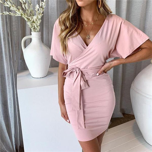 Sexy V Collar Solid Color Mini Dresses