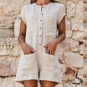 Fashion And Leisure Cotton And Linen Jumpsuits