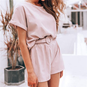 Fashion Short Sleeve Solid Color Jumpsuits