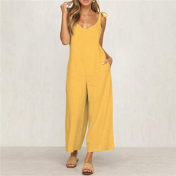 Fashion Hanging Belt Pure Color Jumpsuits