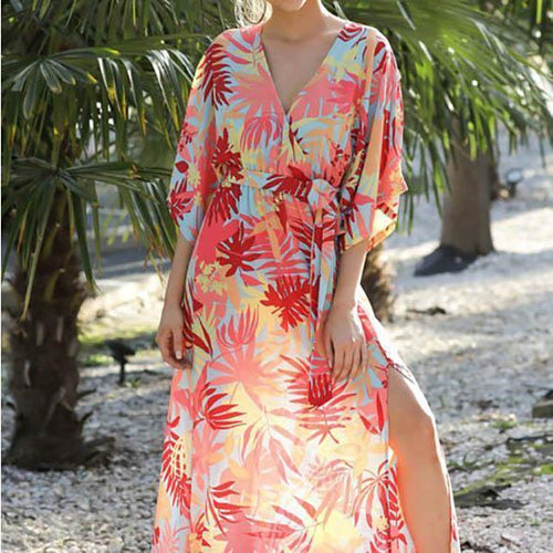 Women's Printing Deep V Loose Large Size Long Version Of The Split Dress