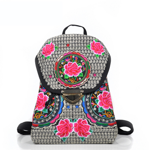 National Wind Embroidery Original Drawstring Lock Backpack