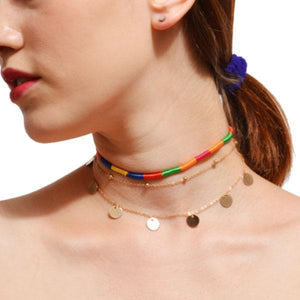 Multi-layer sequined copper beads short necklace