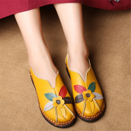 Retro Flowers Flat Leather Handmade Shoes Soft Bottom Shoes Peas Shoes