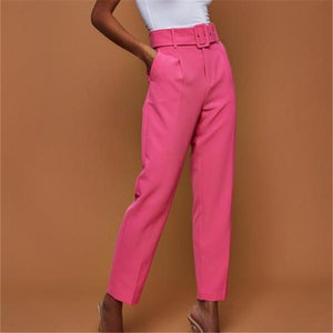Pure Color High-Waisted High-Waisted Straight Trousers Have A Belt