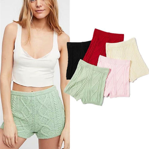 Retro twisted rope knit shorts elastic wild bag hip bottom hot pants