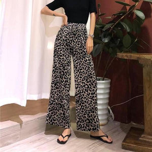 Vintage Leopard Print High-Waisted Wide-Leg Pants