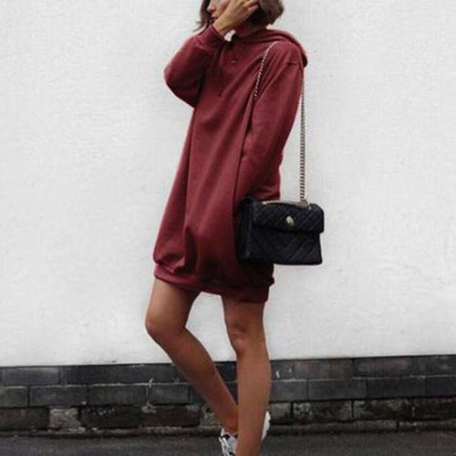 Pure Colour Oversize Long Hoodie