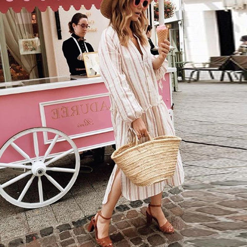V Neck Long Sleeve Stripes Split Casual Dress