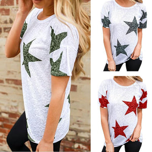 Women Printed Round Neck Loose Casual T-Shirts