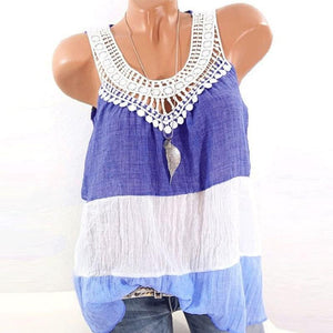 Round Neck  Patchwork Plain Sleeveless Camis