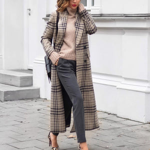 Fashion Grid Long Sleeve Overcoats