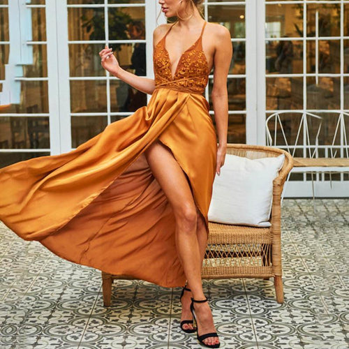 Sexy Plain Sleeveless Braces Backless Fork Evening Dress