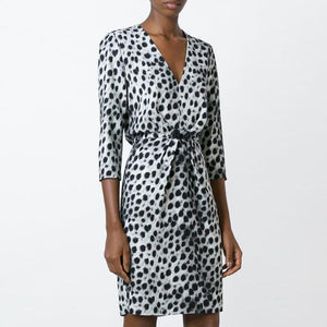 V Neck  Belt  Leopard  Three Quarter Sleeve Casual Dresses