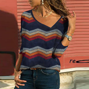 V Neck  Zigzag Striped T-Shirts